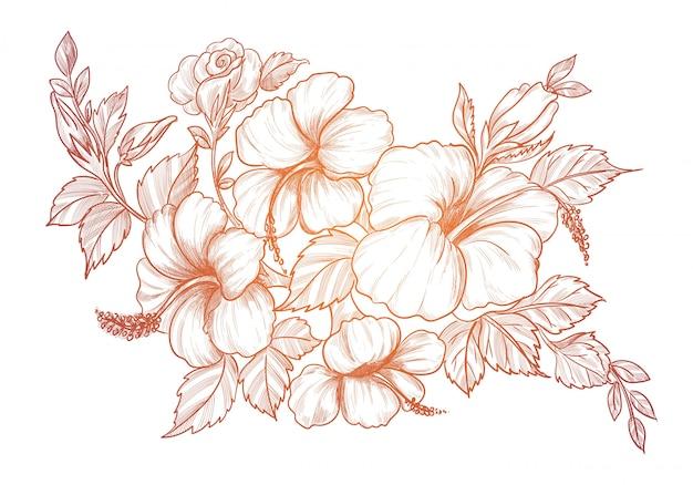 Hand tekenen en schetsen van decoratieve bloemen achtergrond Gratis Vector