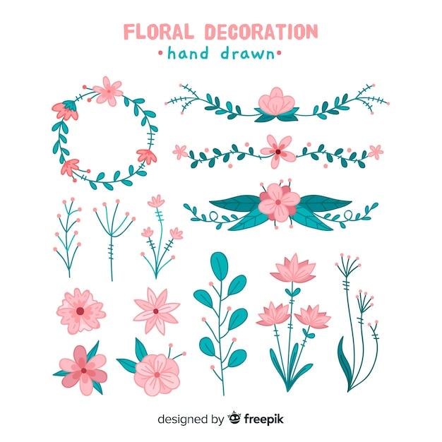 Hand tekenen florale decoratie-elementen Gratis Vector