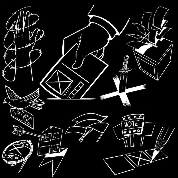 Hand tekenen illustratie set verkiezing Gratis Vector