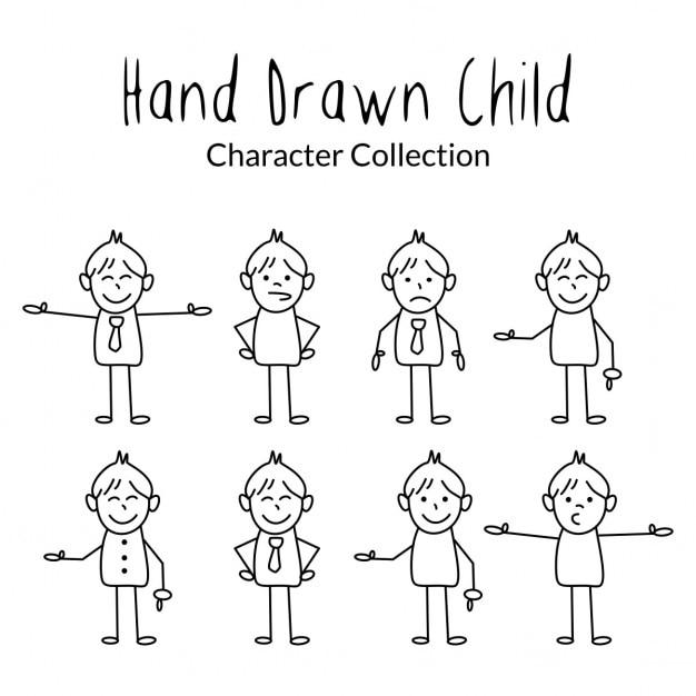 Single Line Character Art : Hand tekenen kids cartoon vector gratis download