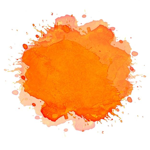 Hand tekenen oranje plons aquarel achtergrond Gratis Vector