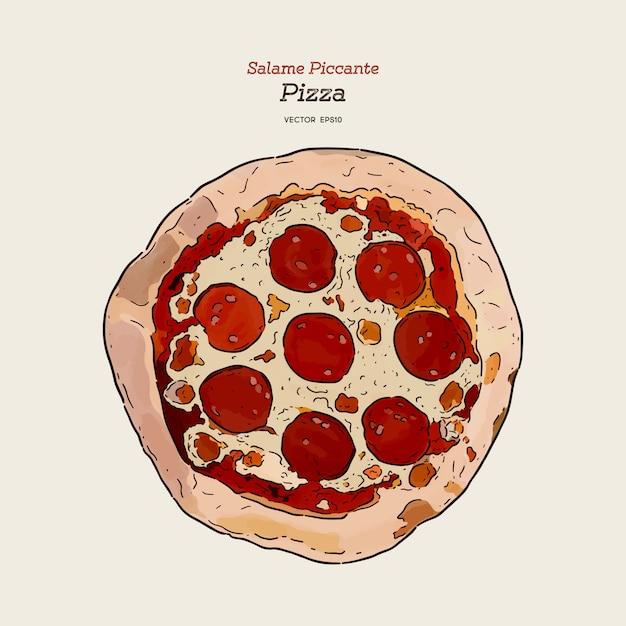 Hand tekenen pizza salame Premium Vector
