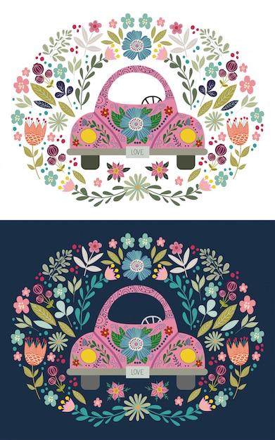 Hand tekenen roze cute cartoon auto met florale elementen en patronen. doodle folk plat, vector Premium Vector