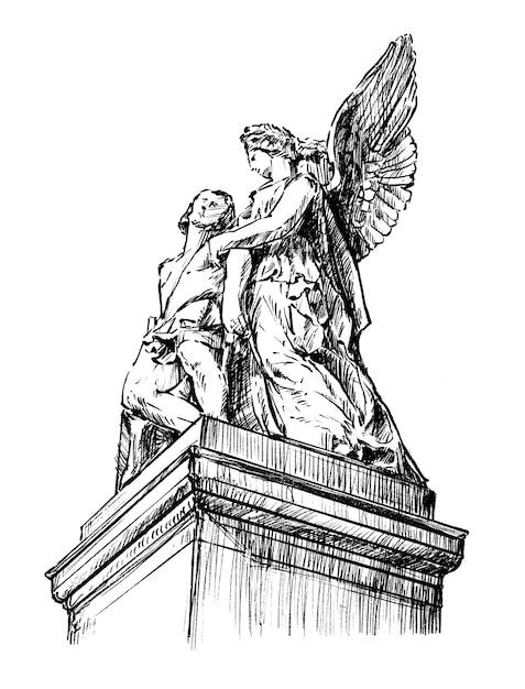 Hand tekenen sculptuur van jezus en maria Premium Vector