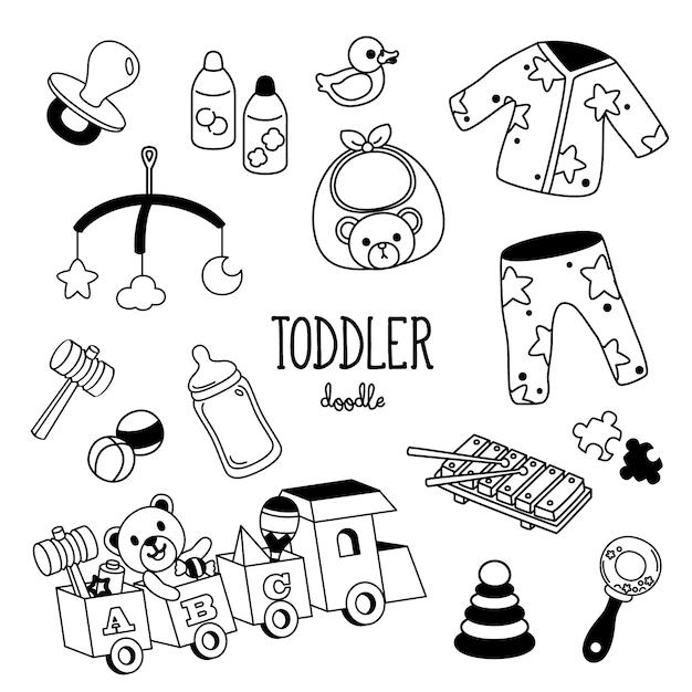 Hand tekenen stijlen peuter items. kleuter doodle. Premium Vector