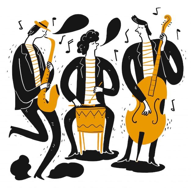 Hand tekenen van de muzikanten die muziek spelen. Premium Vector