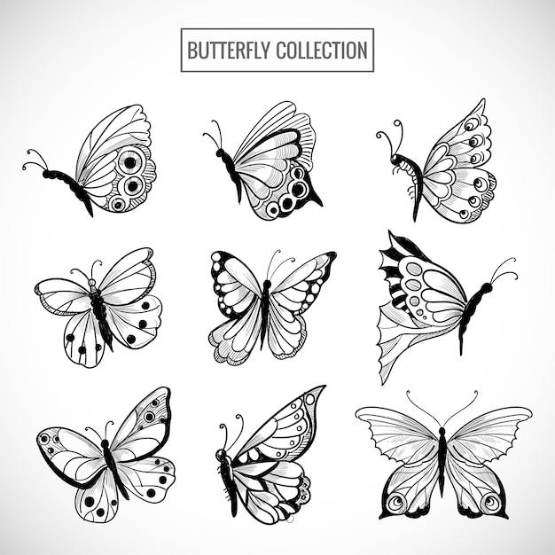 Hand tekenen verzameling mooie vlinders ontwerp Gratis Vector