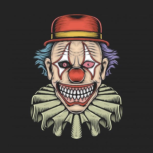 Hand tekenen vintage enge clown vectorillustratie Premium Vector
