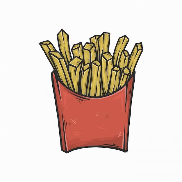 Hand tekenen vintage frietjes vector illustratie Premium Vector