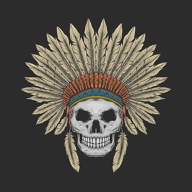 Hand tekenen vintage inheemse schedel vectorillustratie Premium Vector