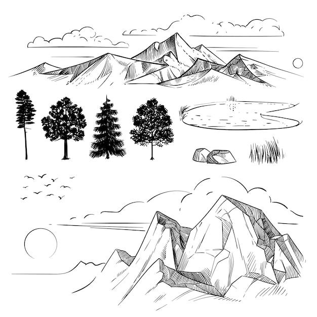 Hand tekening bergketen, pieken wolken, zon en bos bomen. retro bergen en geïsoleerde landschapselementen Premium Vector