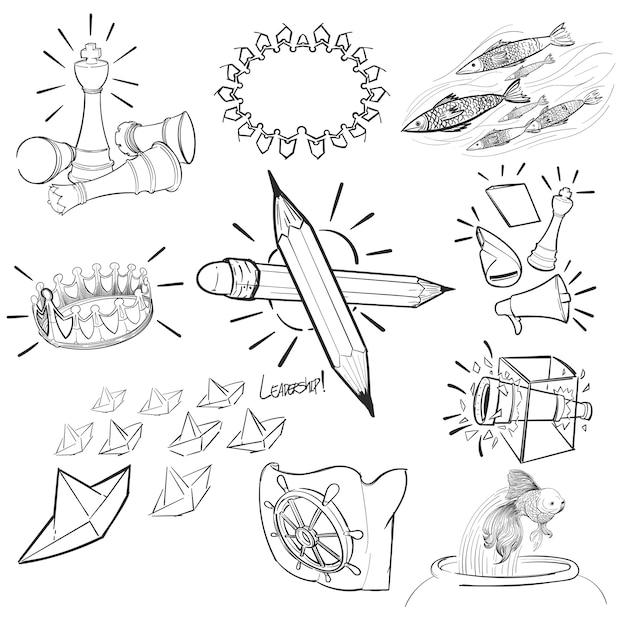 Hand tekening illustratie set van leiderschap Gratis Vector