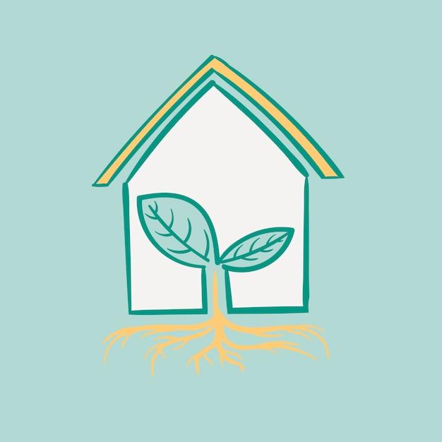 Hand tekening illustratie set van milieu duurzaam Gratis Vector