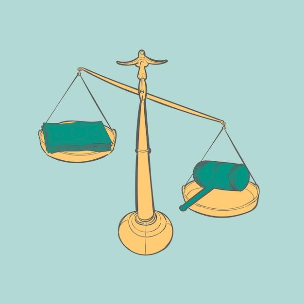 Hand tekening illustratie van rechtvaardigheid conecept Gratis Vector