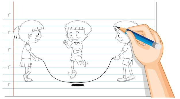 Hand tekening van kinderen springtouw overzicht Gratis Vector