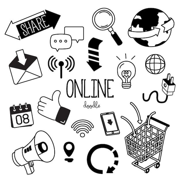 Hand tekenstijlen met online pictogram. online sociale media doodles. Premium Vector