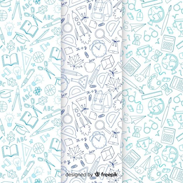 Hand terug getrokken naar school patroon collectie Gratis Vector