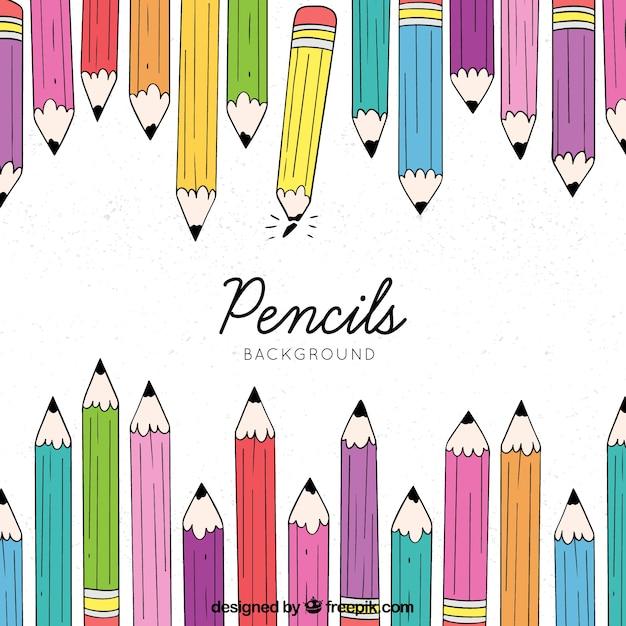 Hand terug naar school achtergrond getekend met potloden Gratis Vector