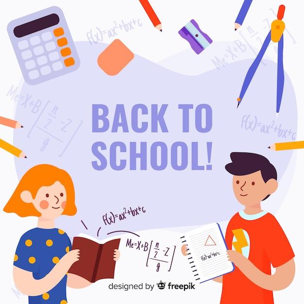 Hand terug naar school achtergrond getekend Premium Vector