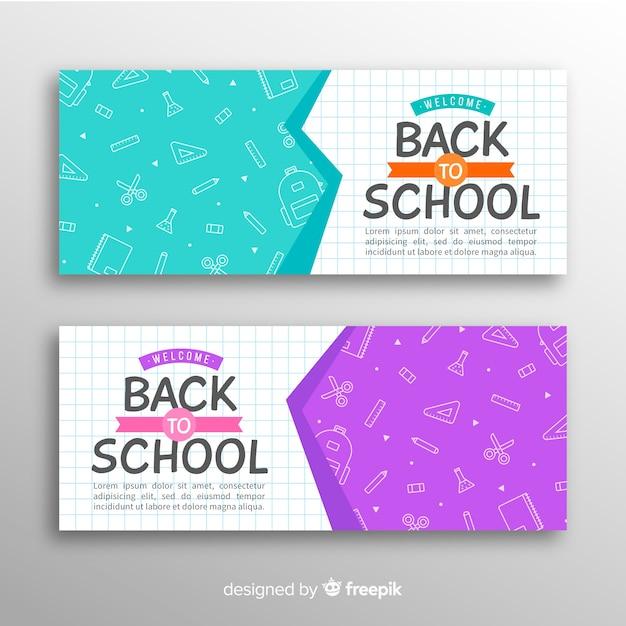 Hand terug naar school banners getrokken Gratis Vector