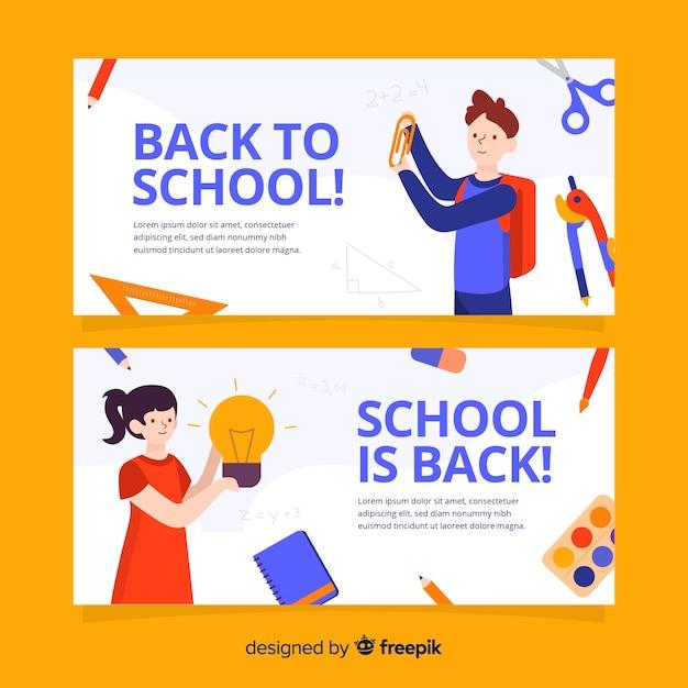 Hand terug naar school banners getrokken Premium Vector