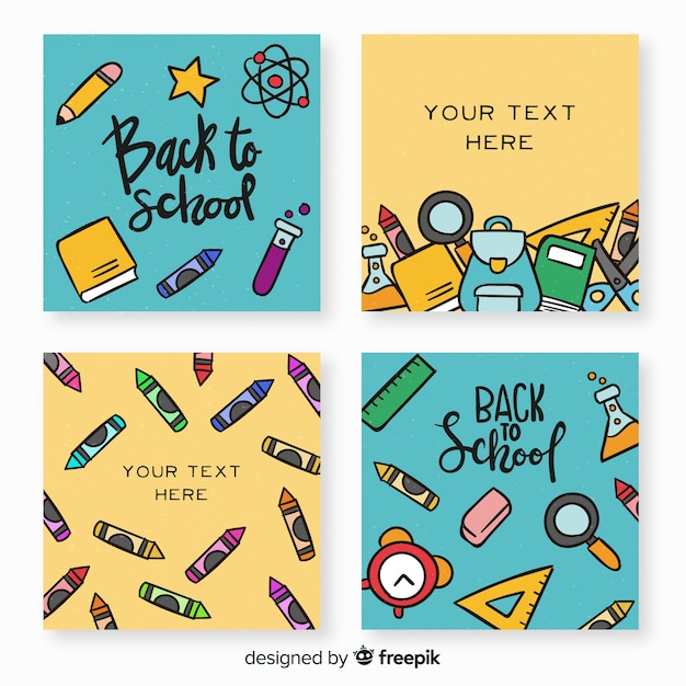 Hand terug naar school kaartsjabloon collectie getekend Gratis Vector
