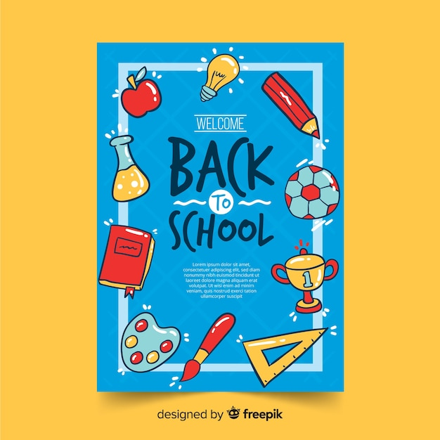 Hand terug naar school kaartsjabloon getekend Gratis Vector