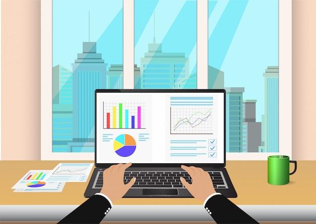 Hand typen op toetsenbord met spreadsheet op laptopmonitor Premium Vector