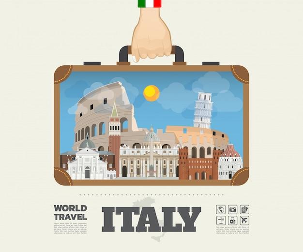 Hand uitvoering italië landmark global travel and journey infographic bag. vector platte ontwerpsjabloon. vector / illustratie. kan worden gebruikt voor uw banner, bedrijf, onderwijs, website of elk kunstwerk Premium Vector