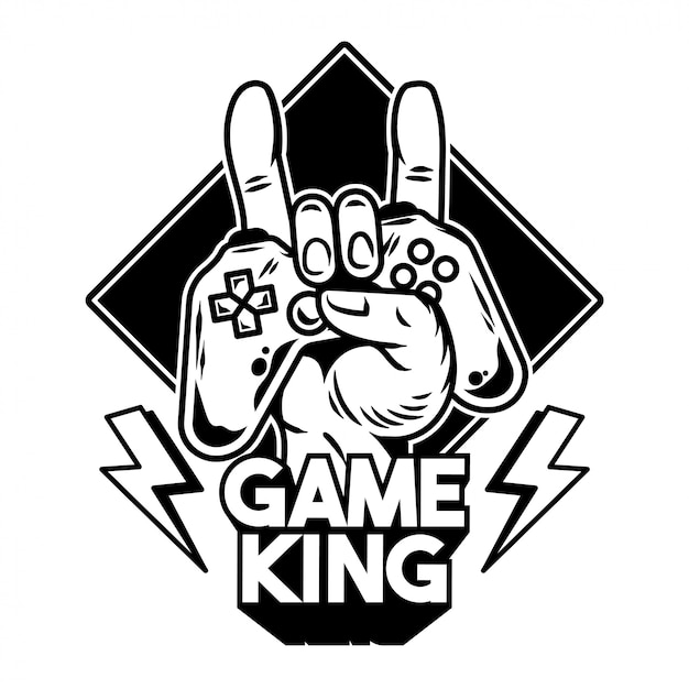 Hand van gamekoning die moderne gamepad, joystick, gamecontroller houdt om videogames te spelen en stenen bord te tonen. Premium Vector