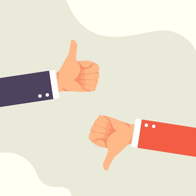 Hand van zakenman met afkeer en duimen omhoog feedback Premium Vector