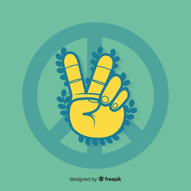 Hand vredesteken met bladeren achtergrond Gratis Vector