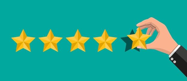Hand zet beoordeling. recensies vijf sterren. Premium Vector