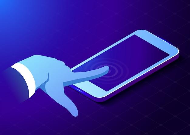 Handaanraking telefoonscherm. digitaal technologieconcept. isometrische illustratie Premium Vector