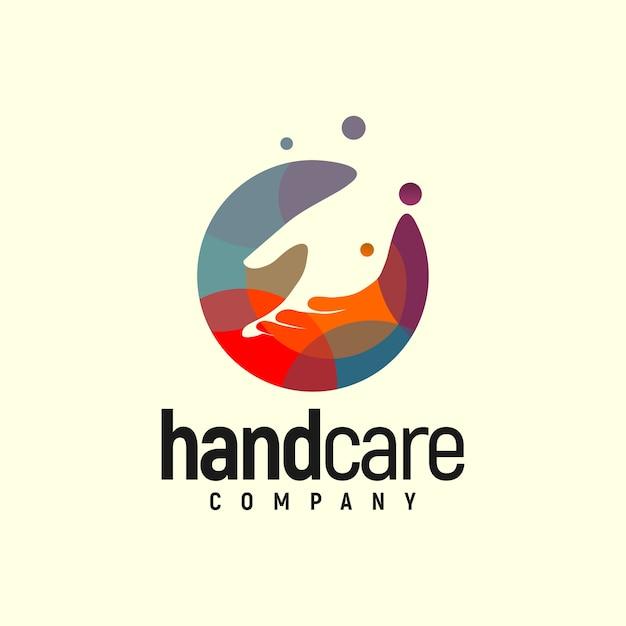 Handcare logo kleurrijk Premium Vector