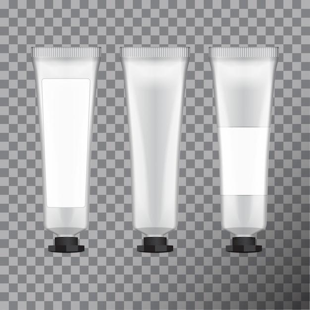 Handcrème pakket. leeg kosmetisch buissjabloon met etiket, illustratie Premium Vector