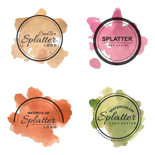 Handdrawn Watercolor Splatter logo's Gratis Vector