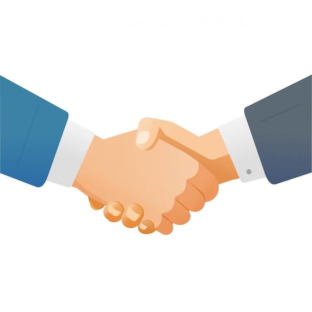 Handdruk handdruk van zaken man of zakenlieden handen schudden als succes partnerschap deal concept illustratie geïsoleerd op een witte achtergrond clipart Premium Vector