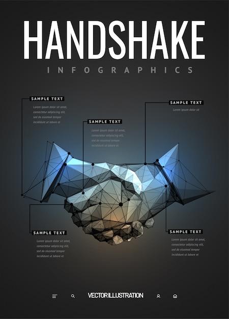 Handdruk infographics in veelhoekige wireframe-stijl Premium Vector