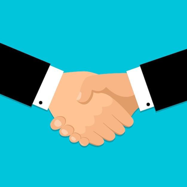 Handdruk pictogram. handen schudden, overeenkomst, goede deal, samenwerkingsconcepten. Premium Vector