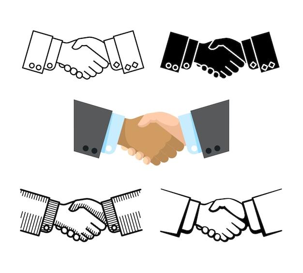 Handdruk, zakelijk partnerschap, overeenkomst vector iconen Premium Vector