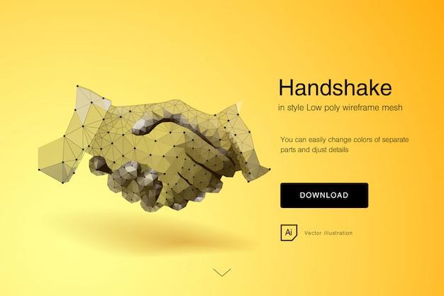 Handdruk. zakenlieden die handdruk maken - bedrijfsetiquette, fusie en acquisitieconcepten. samenvatting van zakelijke handdruk. veelhoekige mesh kunst. effect van technologische innovatie, toekomst. vector Premium Vector