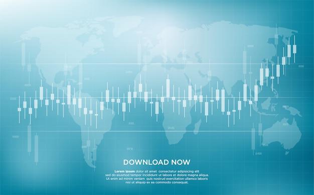 Handel achtergrond met eenvoudige en moderne illustratie van staafdiagrammen van aandelenhandel. Premium Vector