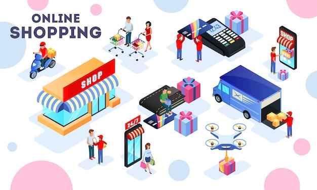 Handel, koopwaarproces belicht verkoop, distributie, transport, levering, winkelen, betaling. Premium Vector