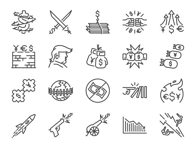 Handel oorlogen pictogramserie. Premium Vector