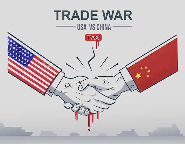 Handelsoorlog china versus vs-handel en amerikaanse tarieven als geschil over economische belastingen. Premium Vector