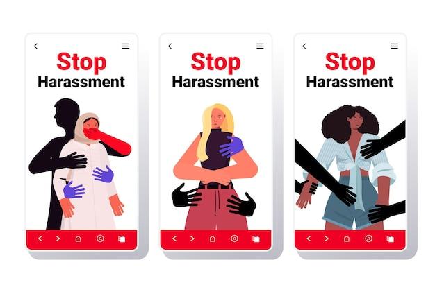 Handen aanraken mix race vrouwen stoppen intimidatie en misbruik geen seksueel geweld concept smartphone schermen collectie Premium Vector