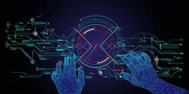 Handen aanraken van de toekomstige user interface-technologie en de toekomst van gebruikerservaring. Premium Vector
