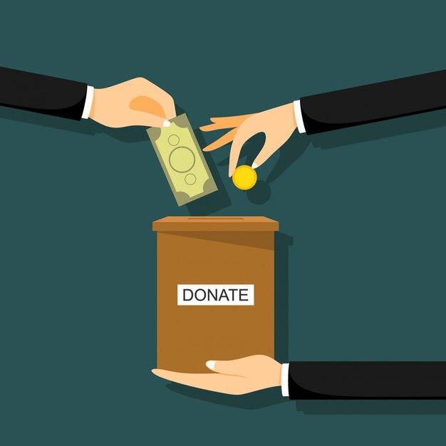 Handen deponeren munt in een kartonnen doos met tekstbanner doneren Premium Vector