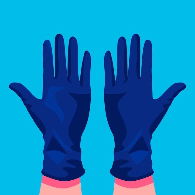 Handen die beschermende medische handschoenen dragen Gratis Vector